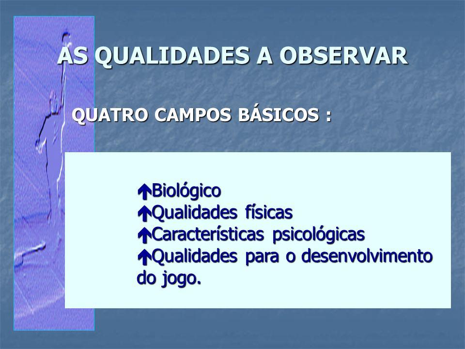 AS QUALIDADES A OBSERVAR QUATRO CAMPOS BÁSICOS : é Biológico é Qualidades físicas é Características psicológicas é Qualidades para o desenvolvimento d