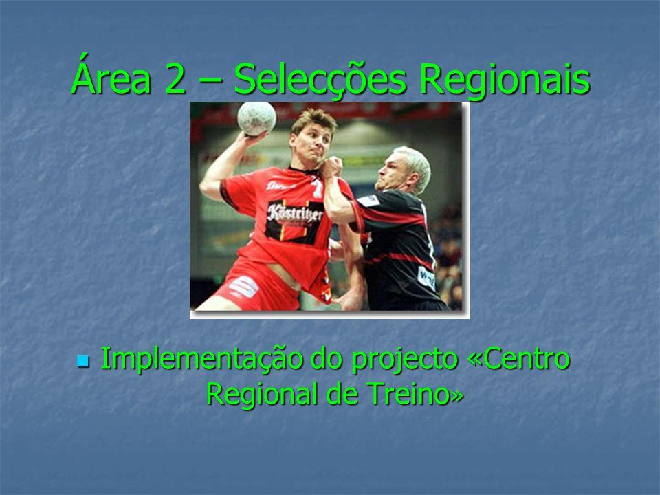 Área 2 – Selecções Regionais Implementação do projecto «Centro Regional de Treino » Implementação do projecto «Centro Regional de Treino »