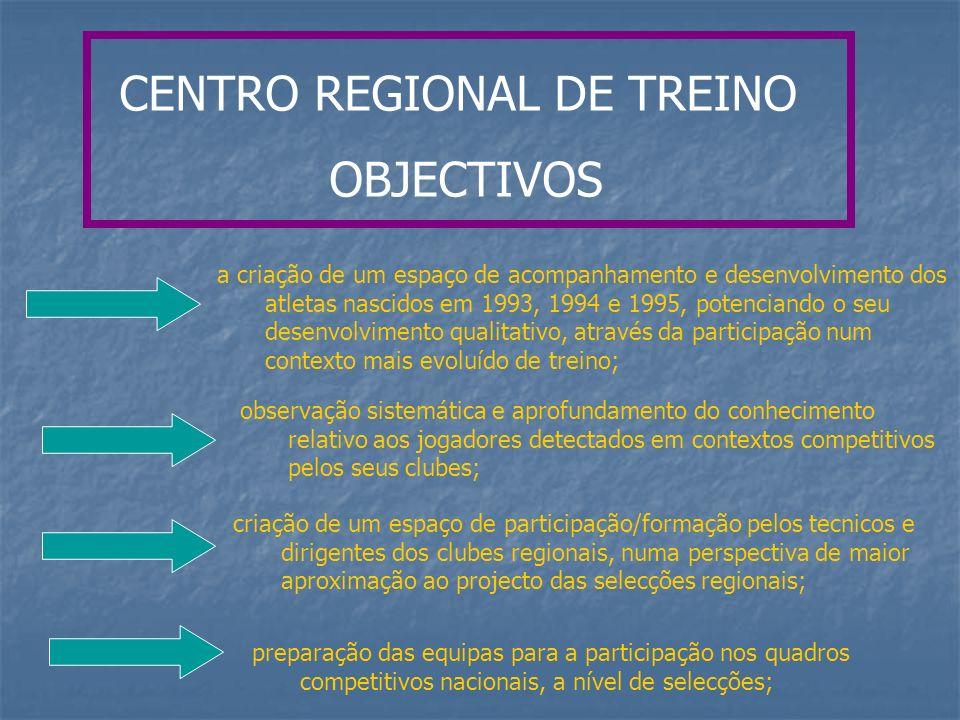 CENTRO REGIONAL DE TREINO OBJECTIVOS a criação de um espaço de acompanhamento e desenvolvimento dos atletas nascidos em 1993, 1994 e 1995, potenciando