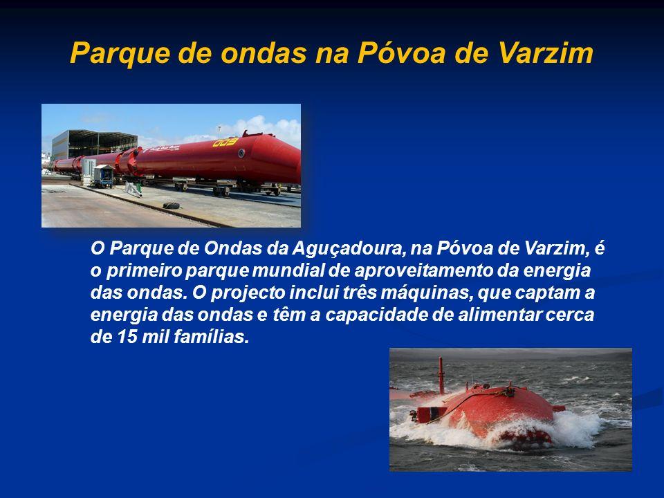O Parque de Ondas da Aguçadoura, na Póvoa de Varzim, é o primeiro parque mundial de aproveitamento da energia das ondas. O projecto inclui três máquin