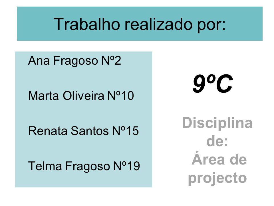 Trabalho realizado por: Ana Fragoso Nº2 Marta Oliveira Nº10 Renata Santos Nº15 Telma Fragoso Nº19 9ºC Disciplina de: Área de projecto