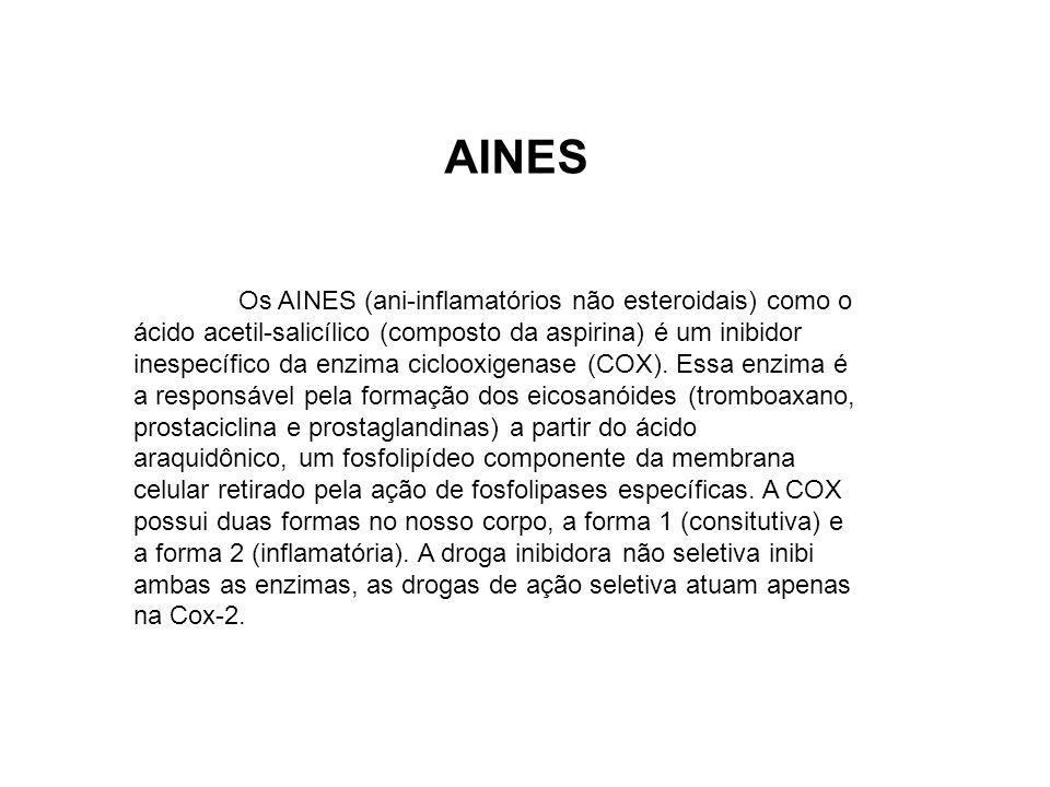 Os AINES (ani-inflamatórios não esteroidais) como o ácido acetil-salicílico (composto da aspirina) é um inibidor inespecífico da enzima ciclooxigenase