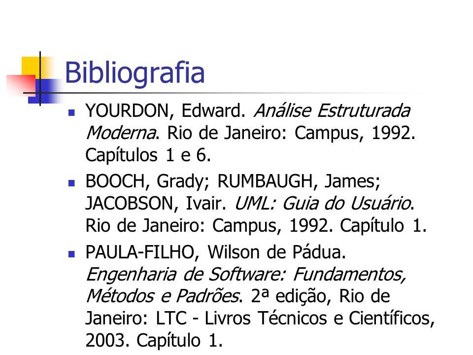 Bibliografia YOURDON, Edward. Análise Estruturada Moderna. Rio de Janeiro: Campus, 1992. Capítulos 1 e 6. BOOCH, Grady; RUMBAUGH, James; JACOBSON, Iva