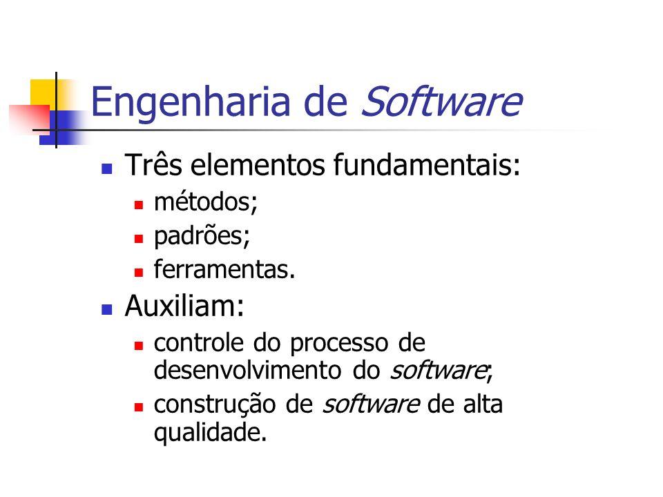 Engenharia de Software Três elementos fundamentais: métodos; padrões; ferramentas. Auxiliam: controle do processo de desenvolvimento do software; cons