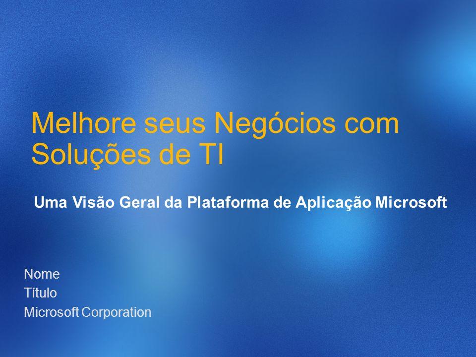 Nome Título Microsoft Corporation Melhore seus Negócios com Soluções de TI Uma Visão Geral da Plataforma de Aplicação Microsoft