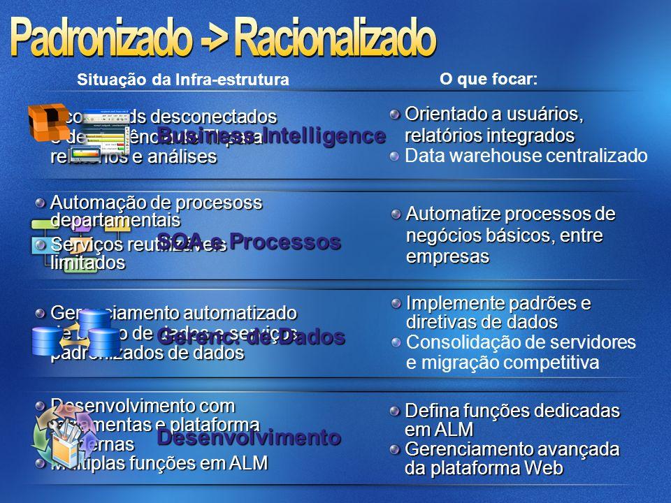 Automação de procesoss departamentais Serviços reutilizáveis limitados Gerenciamento automatizado de banco de dados e serviços padronizados de dados D
