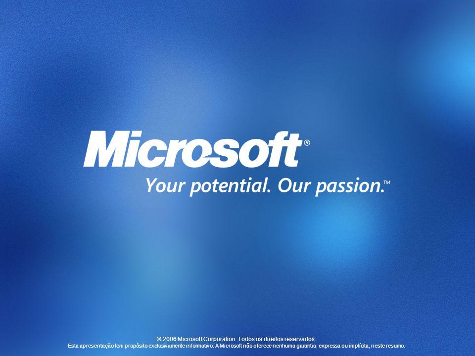 © 2006 Microsoft Corporation. Todos os direitos reservados. Esta apresentação tem propósito exclusivamente informativo. A Microsoft não oferece nenhum