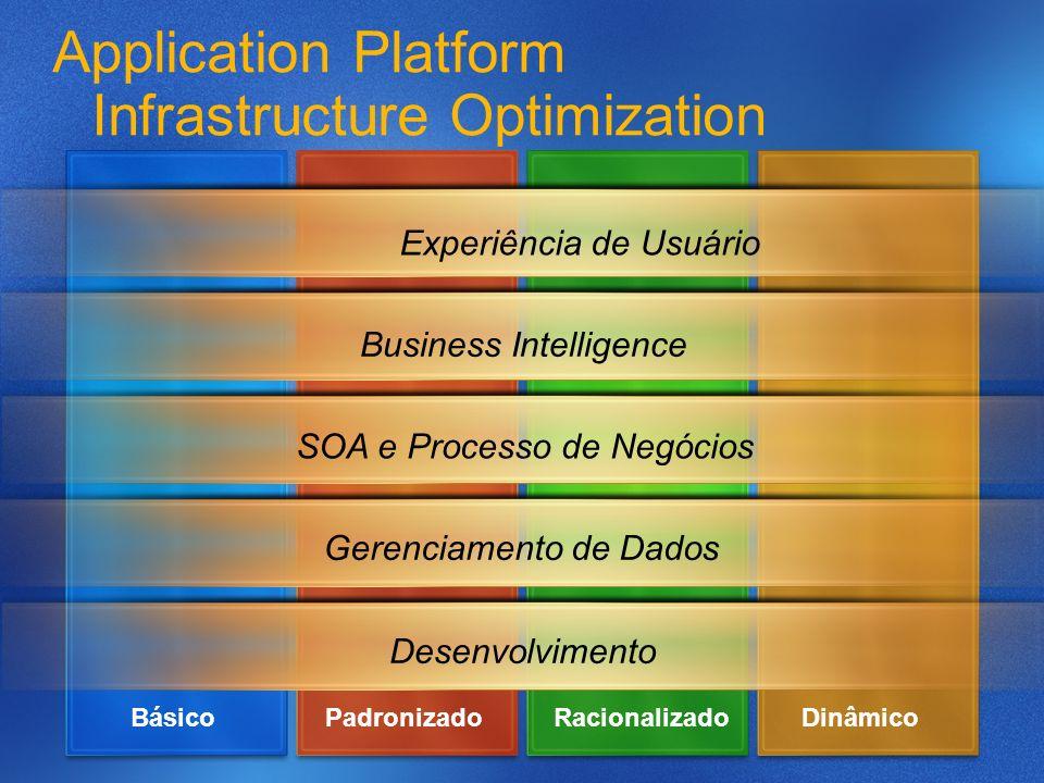 Application Platform Infrastructure Optimization Experiência de Usuário Business Intelligence SOA e Processo de Negócios DesenvolvimentoGerenciamento