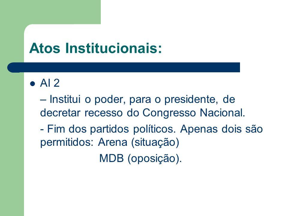 Atos Institucionais: AI 2 – Institui o poder, para o presidente, de decretar recesso do Congresso Nacional. - Fim dos partidos políticos. Apenas dois