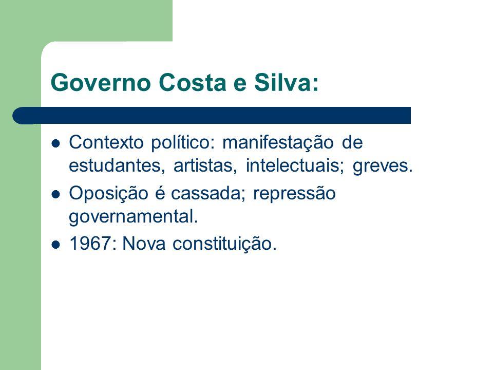 Governo Costa e Silva: Contexto político: manifestação de estudantes, artistas, intelectuais; greves. Oposição é cassada; repressão governamental. 196