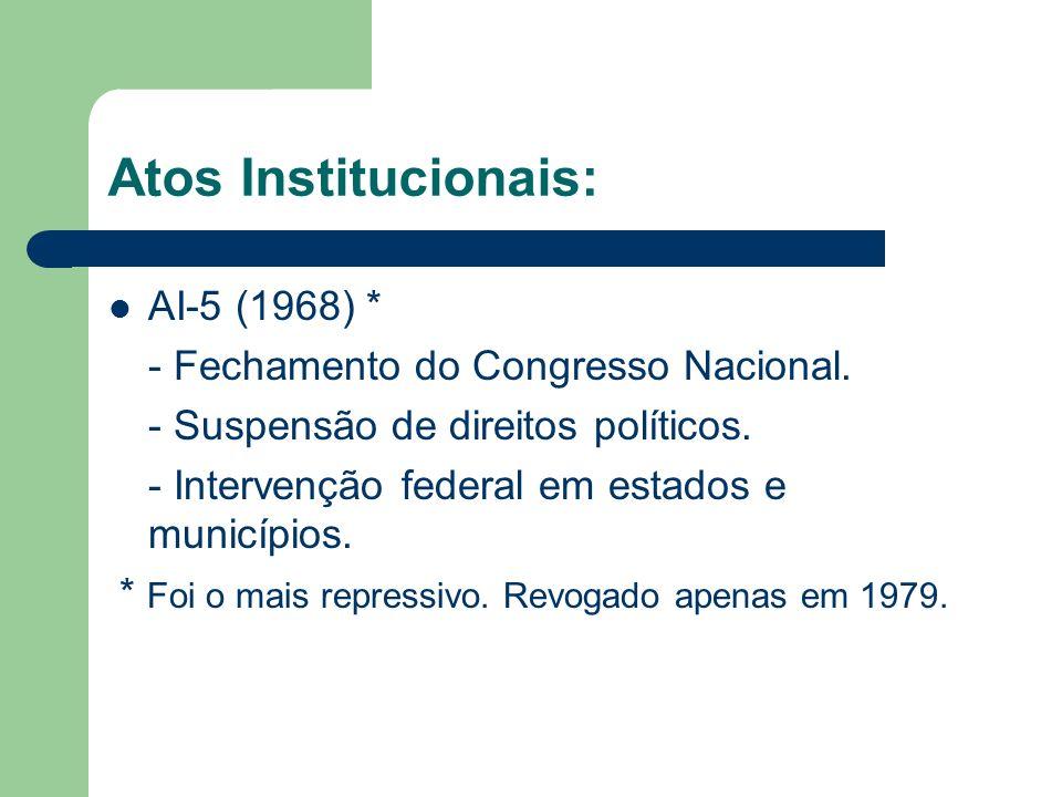 Atos Institucionais: AI-5 (1968) * - Fechamento do Congresso Nacional. - Suspensão de direitos políticos. - Intervenção federal em estados e município