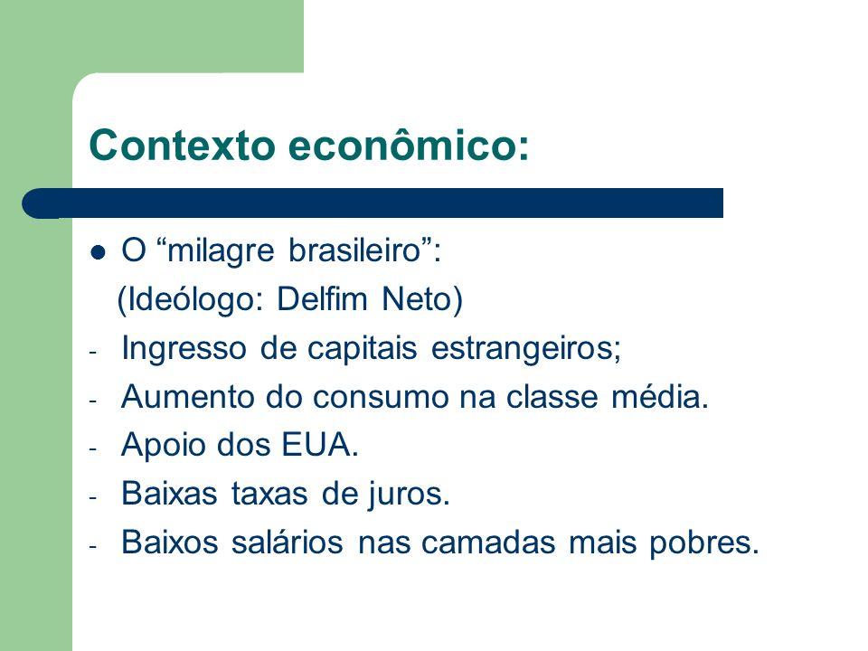 Contexto econômico: O milagre brasileiro: (Ideólogo: Delfim Neto) - Ingresso de capitais estrangeiros; - Aumento do consumo na classe média. - Apoio d