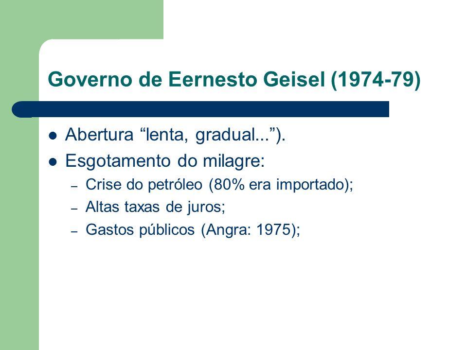 Governo de Eernesto Geisel (1974-79) Abertura lenta, gradual...). Esgotamento do milagre: – Crise do petróleo (80% era importado); – Altas taxas de ju
