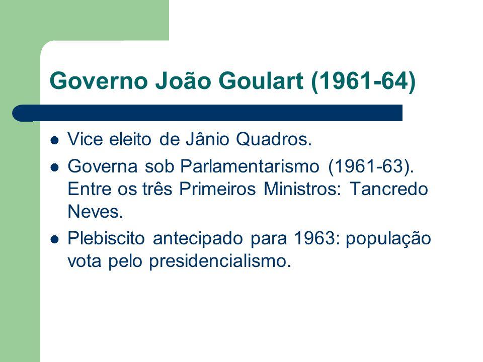 Governo João Goulart (1961-64) Vice eleito de Jânio Quadros. Governa sob Parlamentarismo (1961-63). Entre os três Primeiros Ministros: Tancredo Neves.
