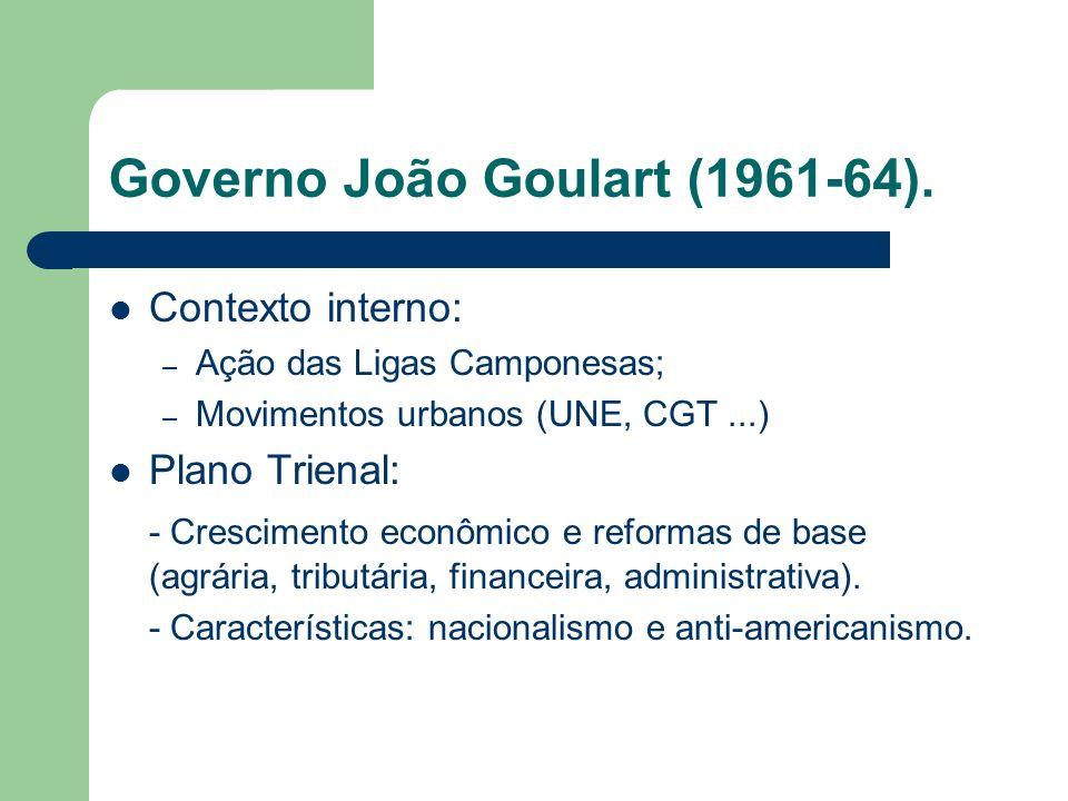 Governo João Goulart (1961-64). Contexto interno: – Ação das Ligas Camponesas; – Movimentos urbanos (UNE, CGT...) Plano Trienal: - Crescimento econômi