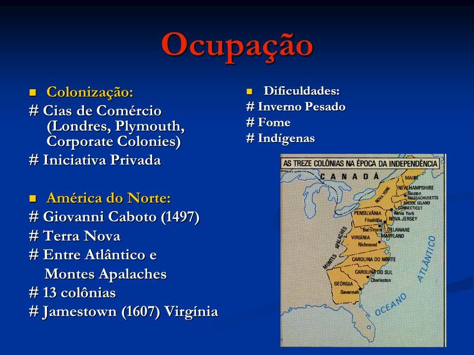 Ocupação Colonização: Colonização: # Cias de Comércio (Londres, Plymouth, Corporate Colonies) # Iniciativa Privada América do Norte: América do Norte: