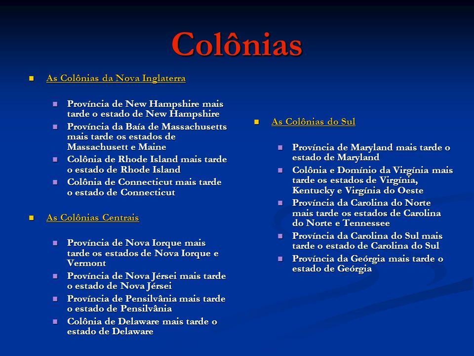 Colônias As Colônias da Nova Inglaterra As Colônias da Nova Inglaterra As Colônias da Nova Inglaterra As Colônias da Nova Inglaterra Província de New