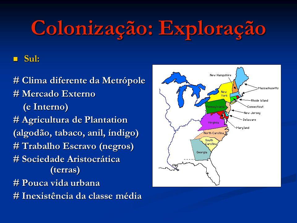 Colonização: Exploração Sul: Sul: # Clima diferente da Metrópole # Mercado Externo (e Interno) (e Interno) # Agricultura de Plantation (algodão, tabac