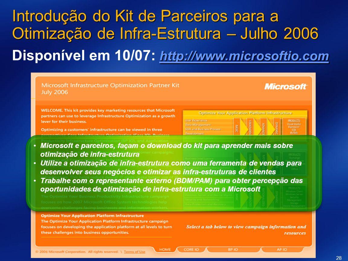 Microsoft e parceiros, façam o download do kit para aprender mais sobre otimização de infra-estrutura Utilize a otimização de infra-estrutura como uma