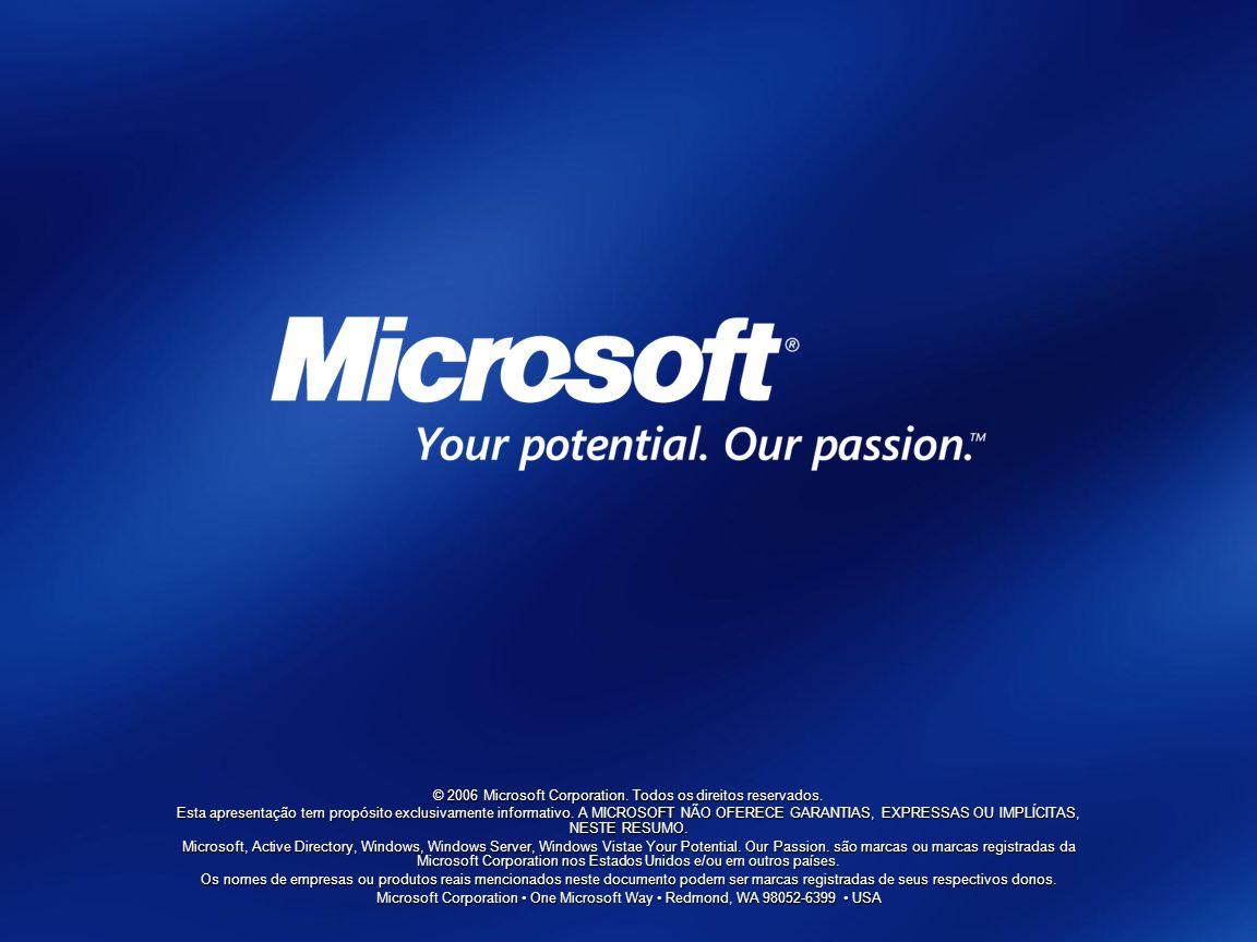 © 2006 Microsoft Corporation. Todos os direitos reservados. Esta apresentação tem propósito exclusivamente informativo. A MICROSOFT NÃO OFERECE GARANT