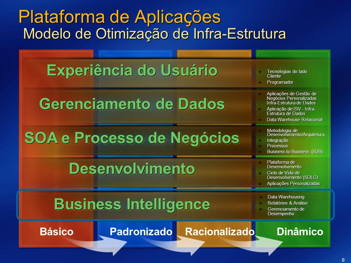8 Plataforma de Aplica ç ões Modelo de Otimização de Infra-Estrutura Tecnologias do lado Cliente Programador Plataforma de Desenvolvimento Ciclo de Vi