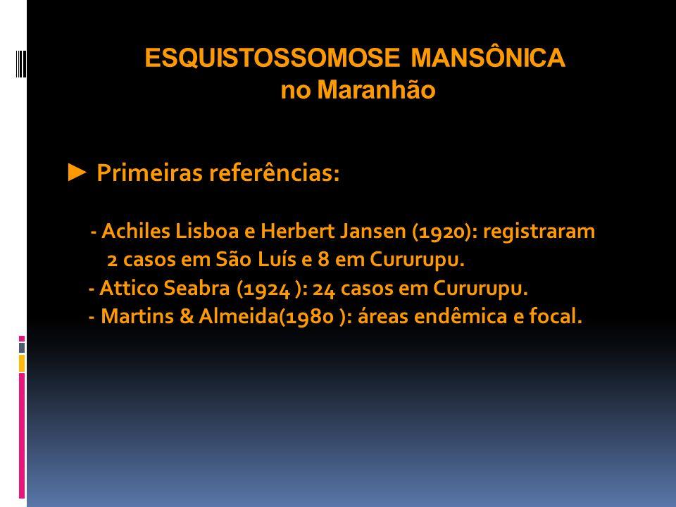 ESQUISTOSSOMOSE MANSÔNICA no Maranhão Primeiras referências: - Achiles Lisboa e Herbert Jansen (1920): registraram 2 casos em São Luís e 8 em Cururupu
