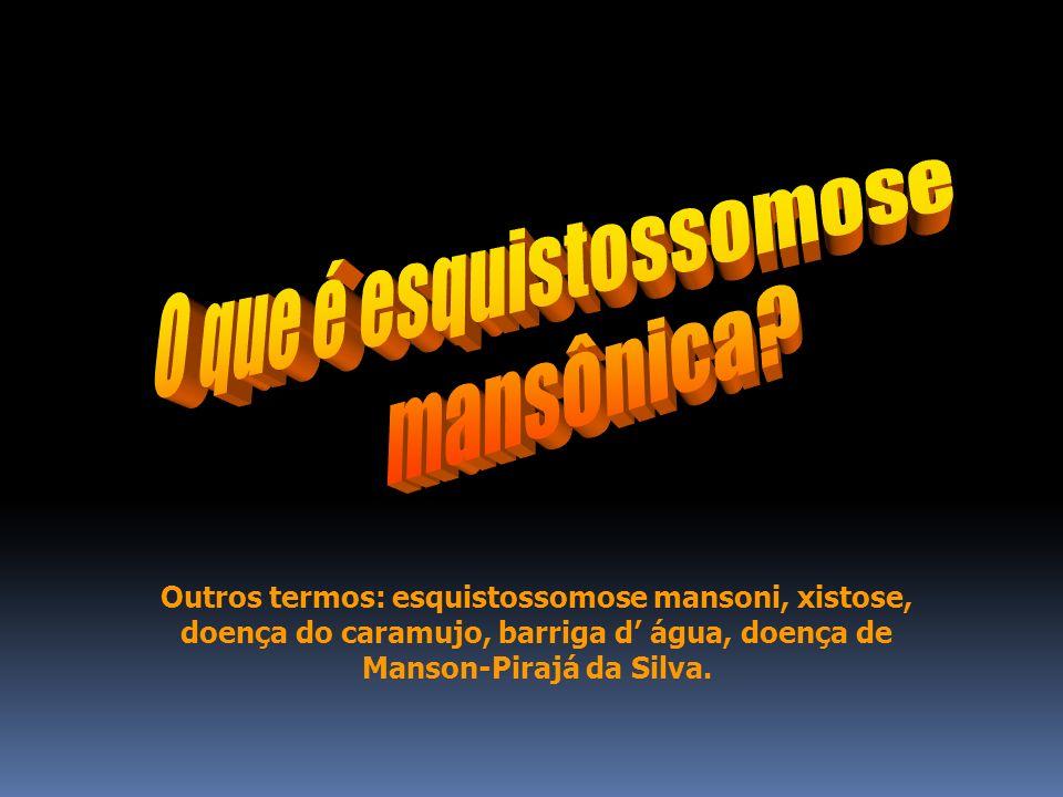 ESQUISTOSSOMOSE É uma zoonose de veiculação hídrica, endêmica em várias regiões, causada por um platelminto da classe Trematoda e da espécie: Schistosoma mansoni.