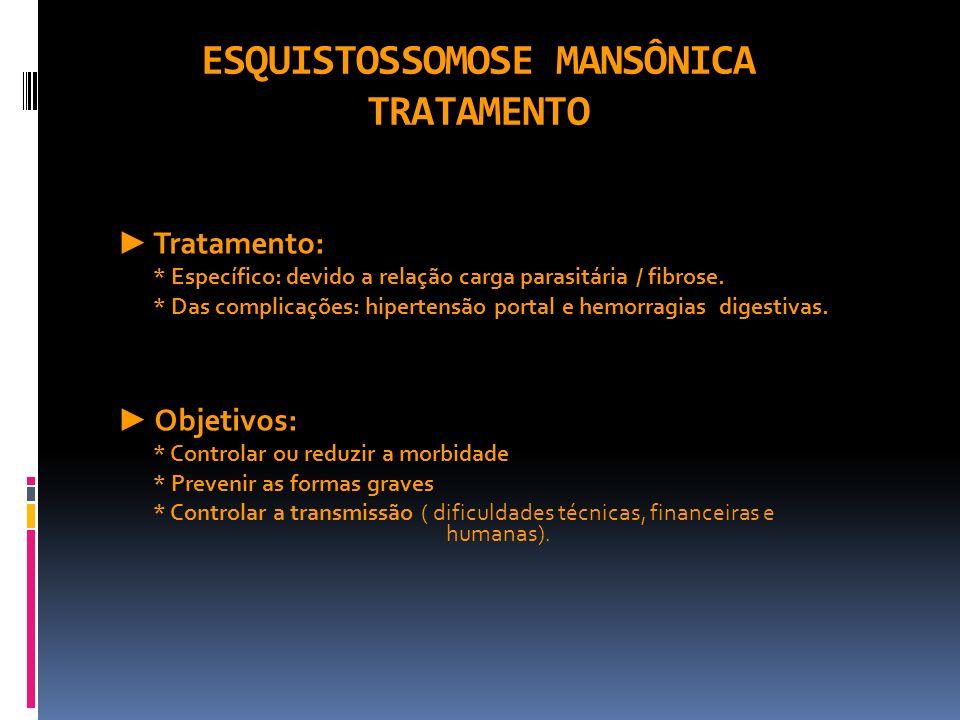ESQUISTOSSOMOSE MANSÔNICA TRATAMENTO Tratamento: * Específico: devido a relação carga parasitária / fibrose. * Das complicações: hipertensão portal e