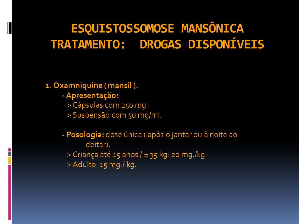 ESQUISTOSSOMOSE MANSÔNICA TRATAMENTO: DROGAS DISPONÍVEIS 1. Oxamniquine ( mansil ). - Apresentação: > Cápsulas com 250 mg. > Suspensão com 50 mg/ml. -
