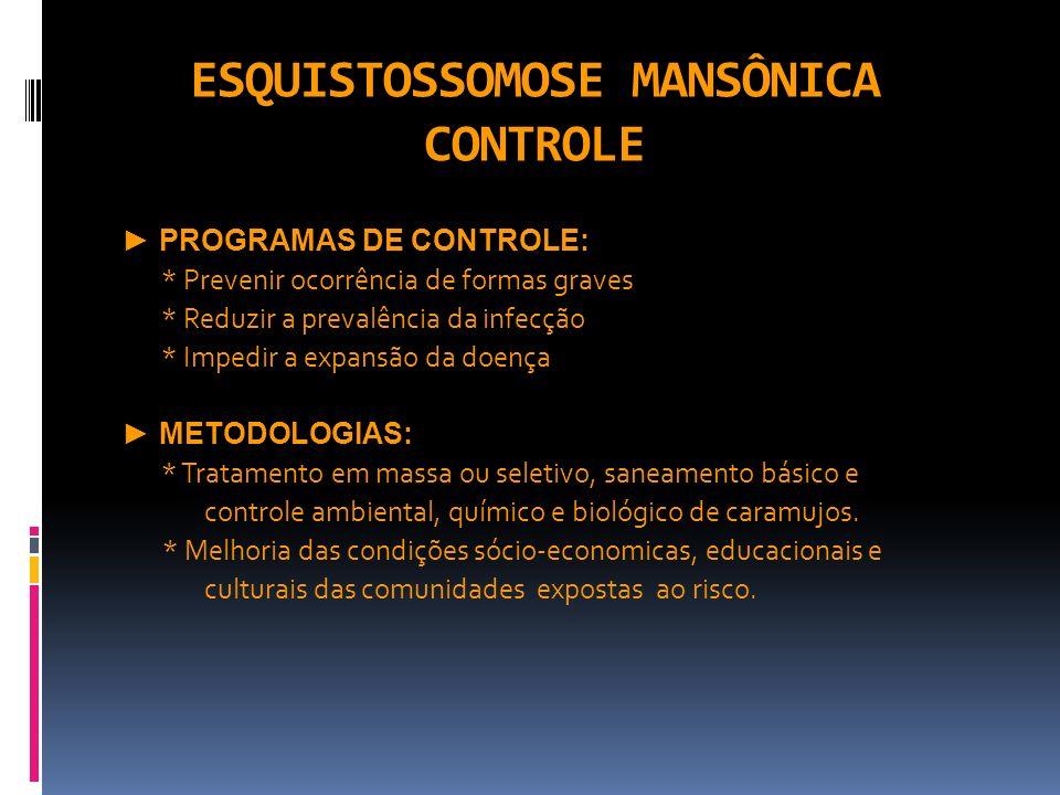ESQUISTOSSOMOSE MANSÔNICA CONTROLE PROGRAMAS DE CONTROLE: * Prevenir ocorrência de formas graves * Reduzir a prevalência da infecção * Impedir a expan