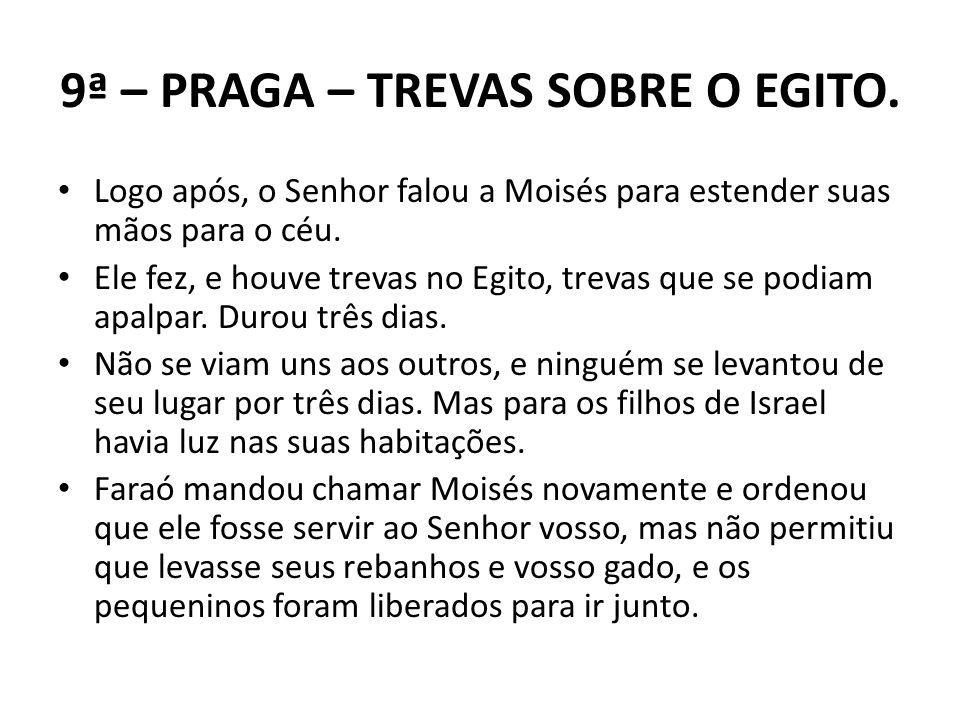 9ª – PRAGA – TREVAS SOBRE O EGITO. Logo após, o Senhor falou a Moisés para estender suas mãos para o céu. Ele fez, e houve trevas no Egito, trevas que
