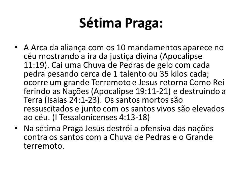 Sétima Praga: A Arca da aliança com os 10 mandamentos aparece no céu mostrando a ira da justiça divina (Apocalipse 11:19). Cai uma Chuva de Pedras de