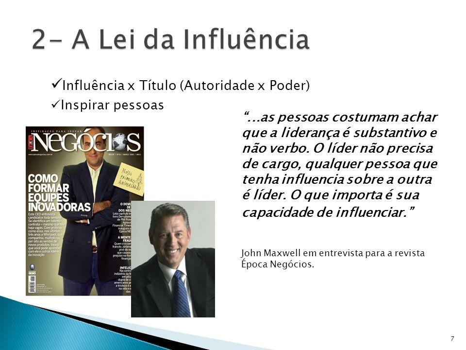 Influência x Título (Autoridade x Poder) Inspirar pessoas...as pessoas costumam achar que a liderança é substantivo e não verbo. O líder não precisa d