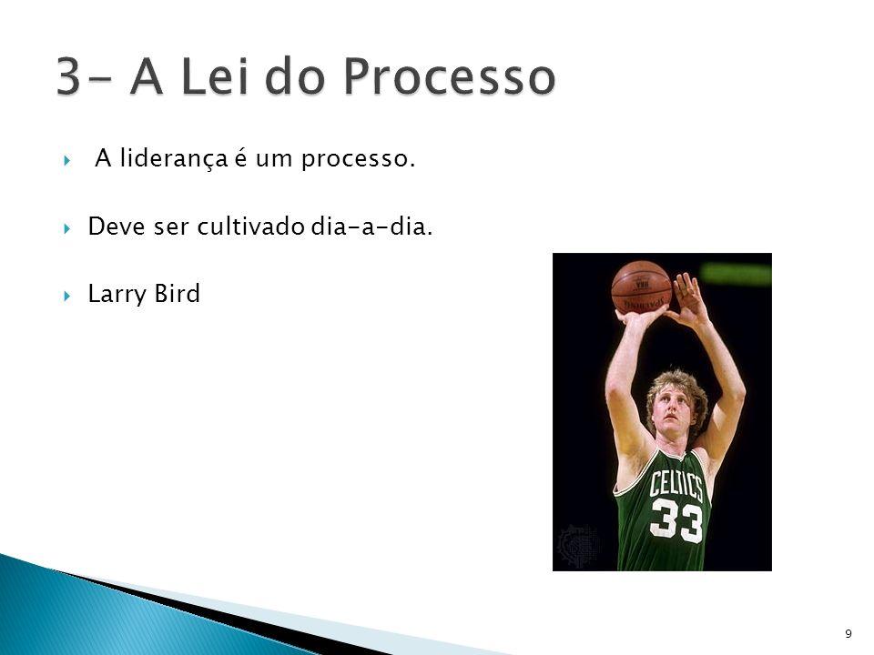 A liderança é um processo. Deve ser cultivado dia-a-dia. Larry Bird 9