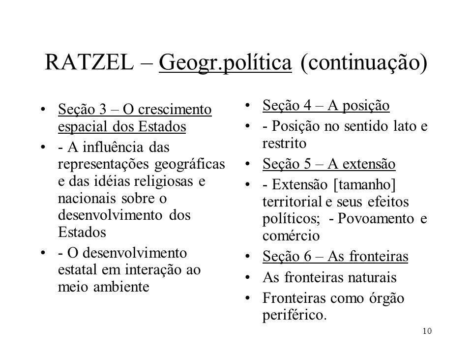 10 RATZEL – Geogr.política (continuação) Seção 3 – O crescimento espacial dos Estados - A influência das representações geográficas e das idéias relig