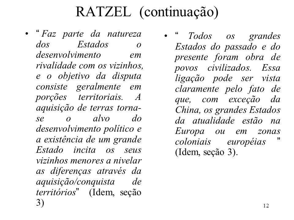 12 RATZEL (continuação) Faz parte da natureza dos Estados o desenvolvimento em rivalidade com os vizinhos, e o objetivo da disputa consiste geralmente