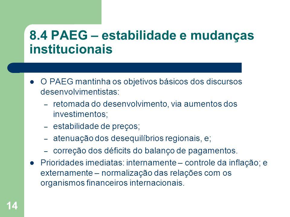 14 8.4 PAEG – estabilidade e mudanças institucionais O PAEG mantinha os objetivos básicos dos discursos desenvolvimentistas: – retomada do desenvolvim