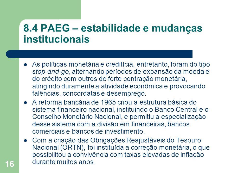 16 8.4 PAEG – estabilidade e mudanças institucionais As políticas monetária e creditícia, entretanto, foram do tipo stop-and-go, alternando períodos d