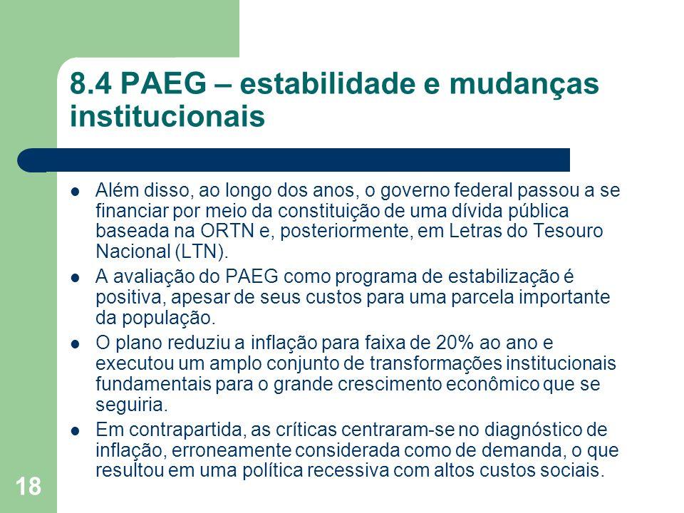 18 8.4 PAEG – estabilidade e mudanças institucionais Além disso, ao longo dos anos, o governo federal passou a se financiar por meio da constituição d
