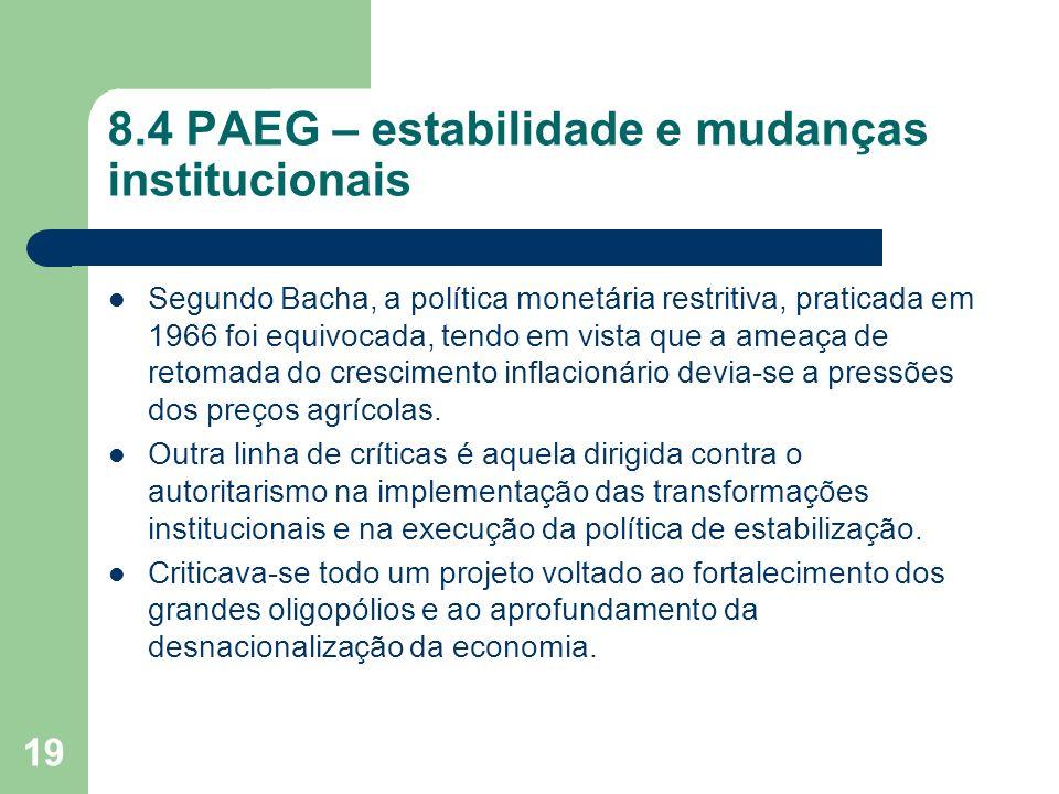 19 8.4 PAEG – estabilidade e mudanças institucionais Segundo Bacha, a política monetária restritiva, praticada em 1966 foi equivocada, tendo em vista