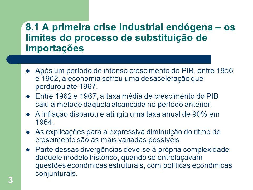 3 8.1 A primeira crise industrial endógena – os limites do processo de substituição de importações Após um período de intenso crescimento do PIB, entr