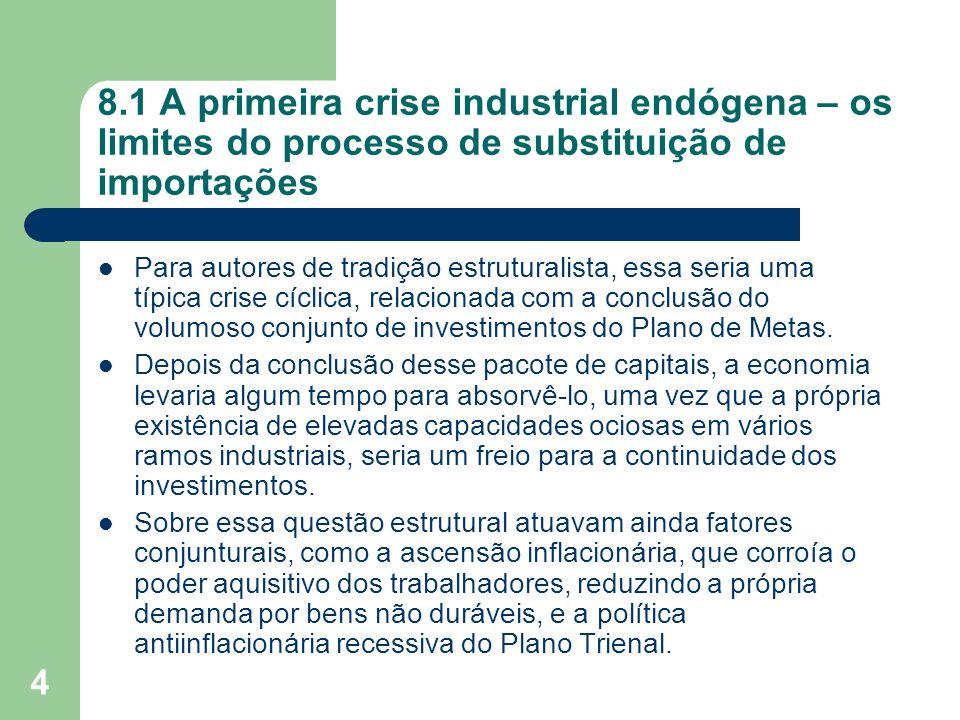4 8.1 A primeira crise industrial endógena – os limites do processo de substituição de importações Para autores de tradição estruturalista, essa seria