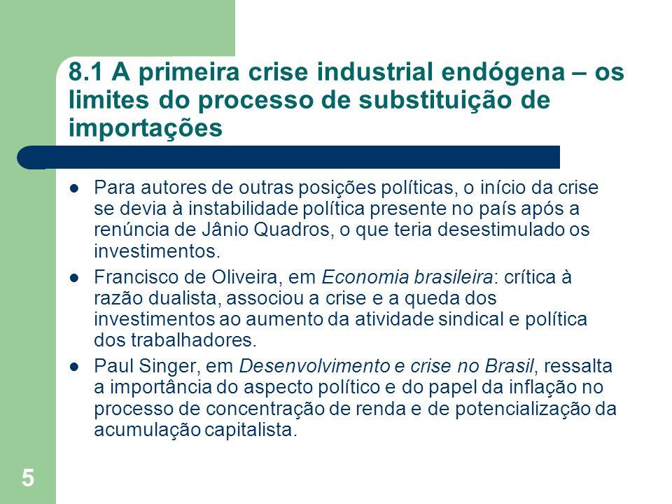 5 8.1 A primeira crise industrial endógena – os limites do processo de substituição de importações Para autores de outras posições políticas, o início