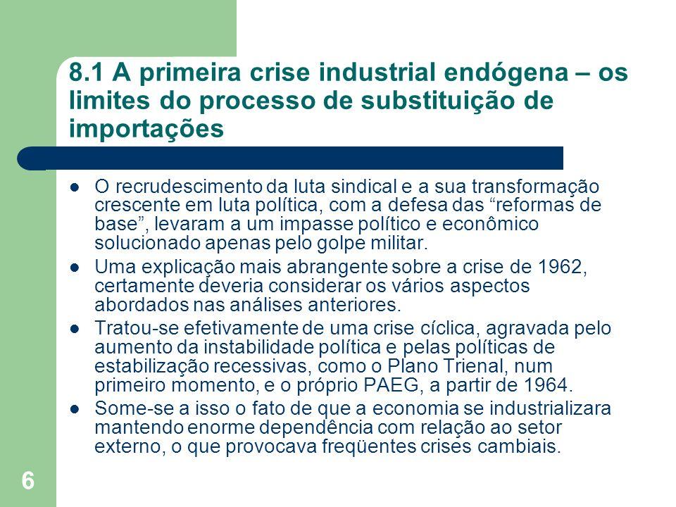 6 8.1 A primeira crise industrial endógena – os limites do processo de substituição de importações O recrudescimento da luta sindical e a sua transfor