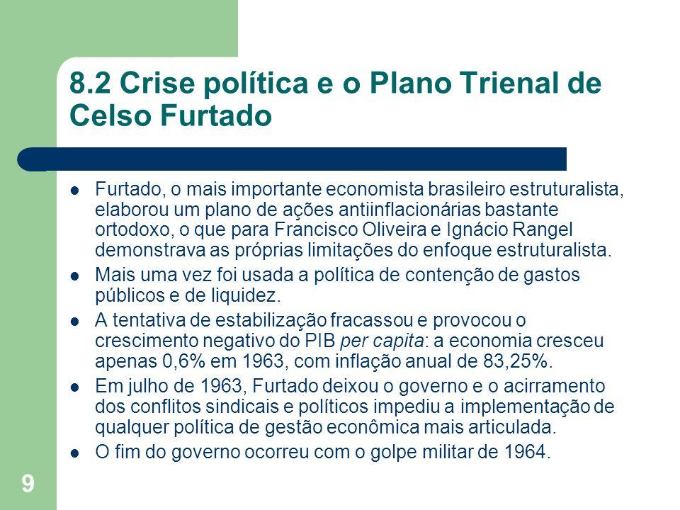 9 8.2 Crise política e o Plano Trienal de Celso Furtado Furtado, o mais importante economista brasileiro estruturalista, elaborou um plano de ações an