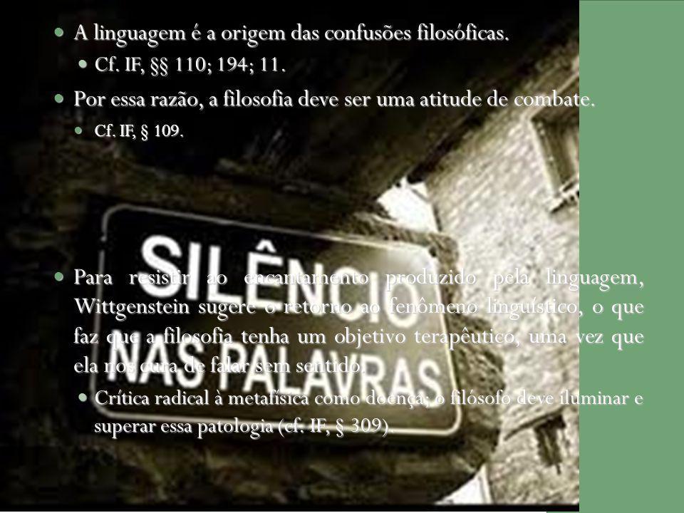 A linguagem é a origem das confusões filosóficas. A linguagem é a origem das confusões filosóficas. Cf. IF, §§ 110; 194; 11. Cf. IF, §§ 110; 194; 11.