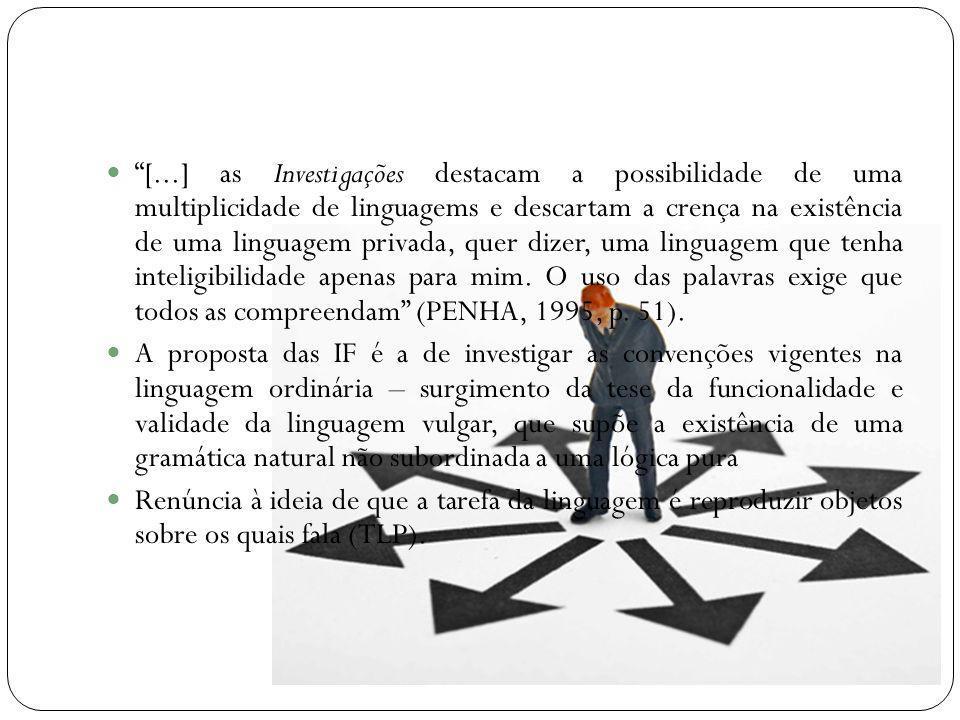 [...] as Investigações destacam a possibilidade de uma multiplicidade de linguagems e descartam a crença na existência de uma linguagem privada, quer