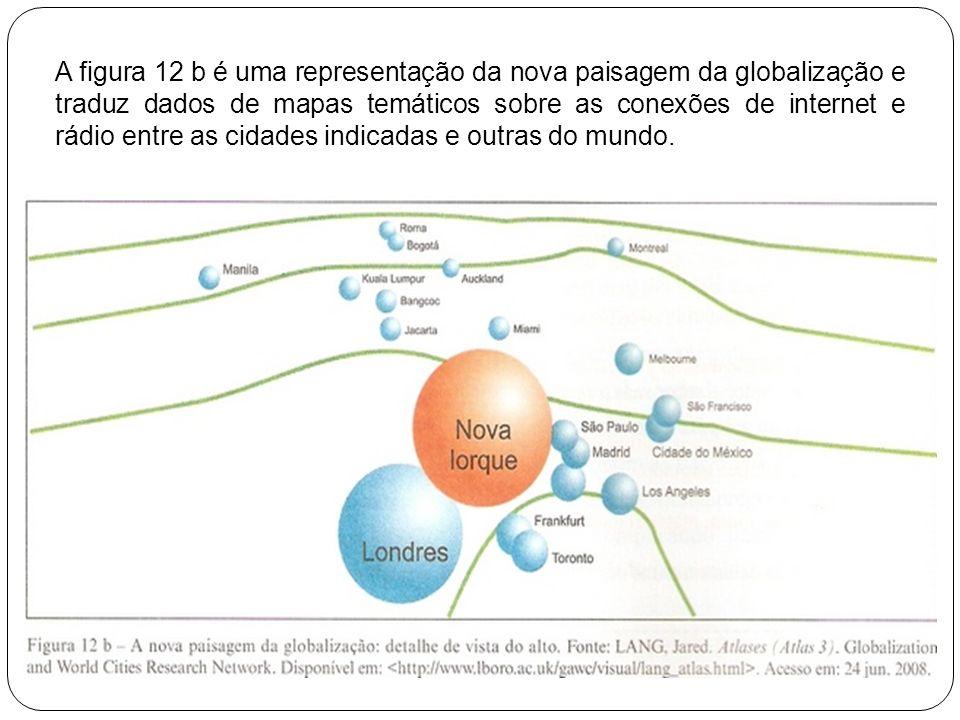 A figura 12 b é uma representação da nova paisagem da globalização e traduz dados de mapas temáticos sobre as conexões de internet e rádio entre as ci