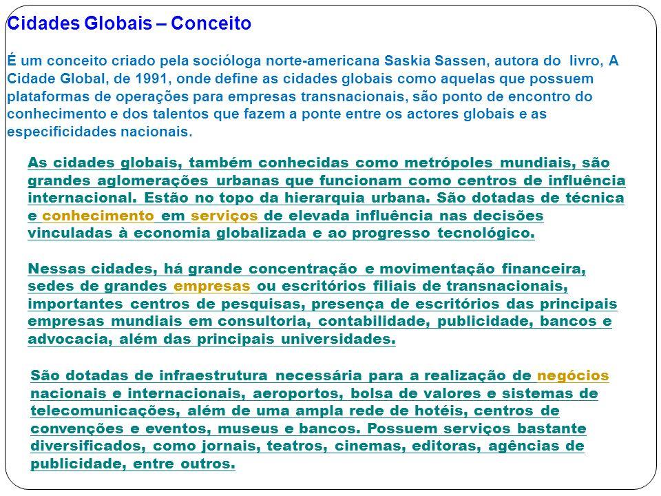Cidades Globais – Conceito É um conceito criado pela socióloga norte-americana Saskia Sassen, autora do livro, A Cidade Global, de 1991, onde define a