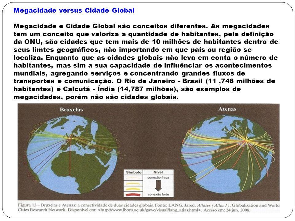Megacidade versus Cidade Global Megacidade e Cidade Global são conceitos diferentes. As megacidades tem um conceito que valoriza a quantidade de habit
